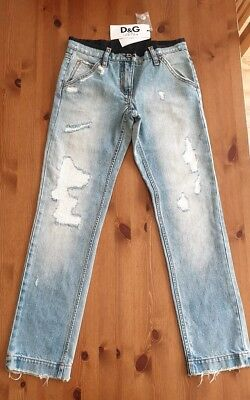 Dolce & Gabbana D&G Distressed Ripped Light Denim Jeans, size XS/age 12, BNWT