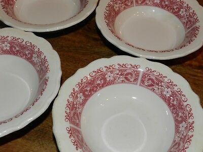 Vtg Syracuse Red Strawberry Hill Restaurant China Set Of 4 Berry Bowls 5""