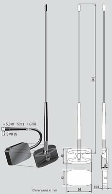 JVC HAL-4 DAB Digital External Glass Mount Antenna Aerial Radio