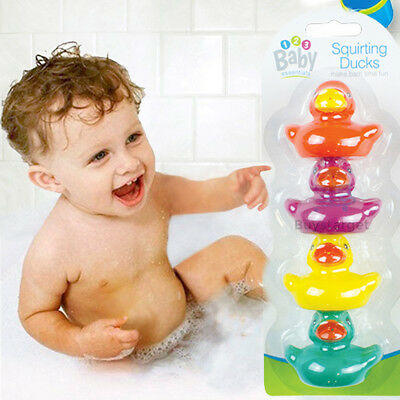 🔥4 RUBBER MULTI COLOURED DUCKS Fun Kids Bath Squirting Water Toy Baby Duck Time