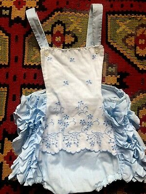 Vintage Baby 40s 50s Ruffle Sunsuit Romper Jumper Playsuit One Piece Blue Eyelet
