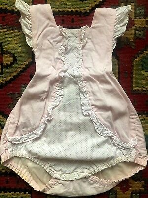 Vintage Baby Penneys Toddletime 50s Pink Dotted Sunsuit Romper One Piece