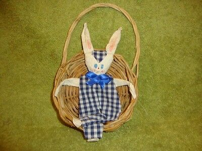 Primitive Vintage Easter Bunny in Basket Tuck Shelf Sitter Handmade Fan