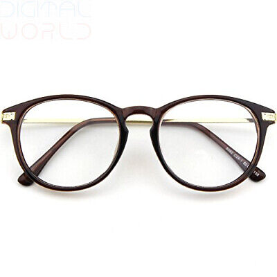 CGID CN92 Fashion Keyhole Metal Temple Oval Horn Rimmed Clear Lens Brown