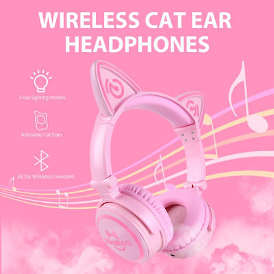 Cat Ear Wireless Bluetooth Headset LED Foldable Headphones Earphone For iPhone 8