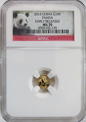 2016 China 1g Gold 10Y Panda NGC MS 70 Early Releases