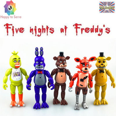 """5Pcs 6"""" FNAF Chica Five Nights at Freddy's Action Figures With Light Toys Gifts"""