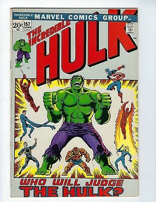 INCREDIBLE HULK # 152 (Capt America, Spider-Man, Daredevil apps. JUNE 1972), VF