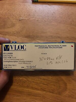 VLOC Nd:YAG Laser Rod 6mm Dia x 89mm AR/AR 1064nm Nd:1.1% New In Box 1.06
