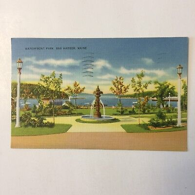 Waterfront Park Bar Harbor Maine Landscape Water Posted Ellsworth 1939 Postcard