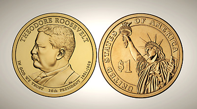 2013 D Theodore Roosevelt Presidential Series Dollar UNC MS Uncirculated!