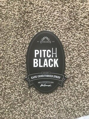 Everards Pitch Black Beer Pump Clip Breweriana Brand New Free Fast P+P