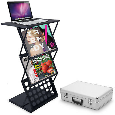 A3 Folding Exhibition Stand Floor Brochure Display Stand Portable Magazine Table