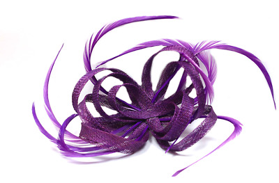 Purple Looped Sinamay and Feather Fascinator Corsage Beak Clip Brooch Pin