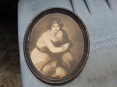 Vintage Victorian Picture Woman Child Antique Old Nice Decor