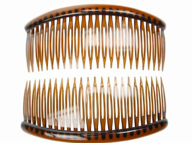 Pack of 2 Large Tort Brown Plastic Hair Combs Slides 12cm Long