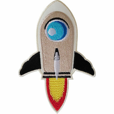 Rocket Patch Iron / Sew On Clothes Jacket Jeans Bag Space NASA Embroidered Badge