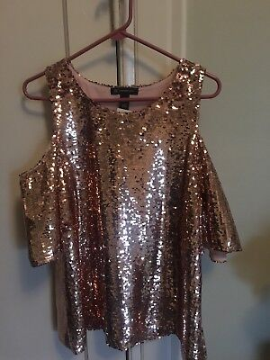 6813406adc0526 INC ROSE GOLD Sequin Cold Shoulder Top-Size Large-New with Tags ...