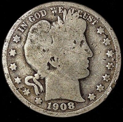 1908-D 50C Barber Half Dollar, m2117wot 90% Silver,  50 Cents Shipping