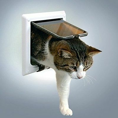 4-Way Cat Flap with Tunnel White