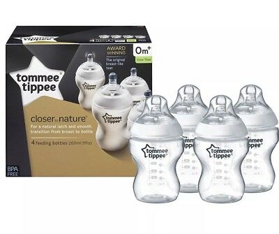 Tommee Tippee Bottles, Closer To Nature.4 X  260ml Bottles. Brand New In Box