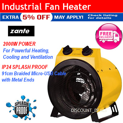 Electric Workshop INDUSTRIAL FAN HEATER Carpet Dryer Floor Blower Shed Garage