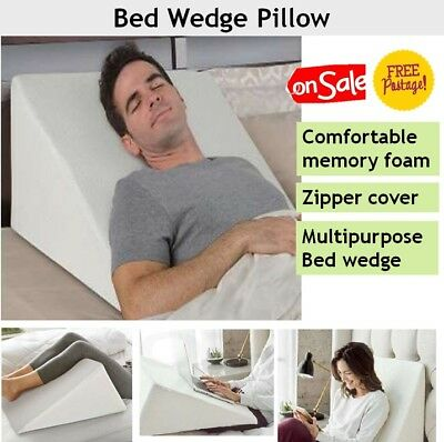 Bed Wedge Pillow with Cushion Memory Foam for Elevated Back, Neck & Leg Support