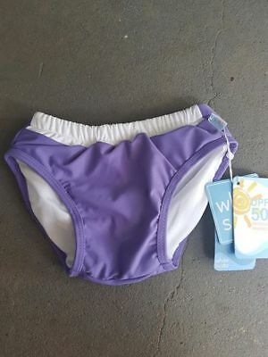 Girls Swim Nappy Pant - Reuseable - Size 0 - White Soda - Upf 50+ New - Purple