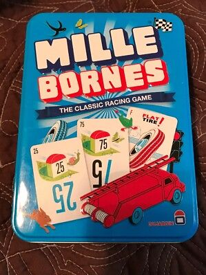Mille Bornes Card Game Classic French Auto Car Racing Mile Bourne Tin Holder NEW