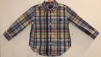 Chaps Baby Boy's 24M Shirt Button Down Blue/Yellow/White Plaid Embroidered Logo