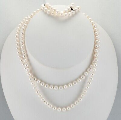"""Mikimoto Necklace 5.5x6mm Pearl Doubled 15"""" Bracelet Set Sterling Clasp"""
