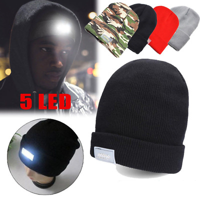 Built-In 5-LED Beanie Lighted Cap Winter Warm Black Flashlight Style  Camping Hat bf2cf91d30ec