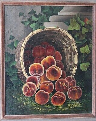 Early Original 19Th Century Oil Still Life With Peaches & Basket Nice Condition