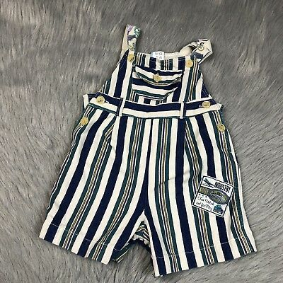 Vintage 90s Baby Boys Blue White Teal Striped Short Overalls
