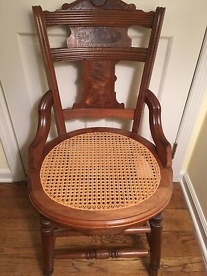 Antique Carved with Inlay Eastlake Victorian Cane Seat Dining Side Accent Chair
