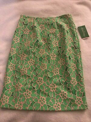216415852 Lilly Pulitzer HYACINTH Pencil Skirt Green Pink PIQUE LACE Size 0 MSRP $158