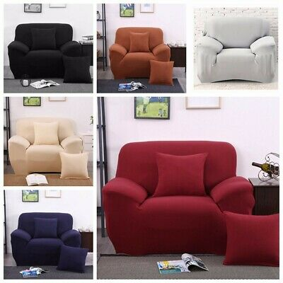 Easy Stretch Sofa Cover Elastic Fabric Recliner Lounge Dining Couch Decor 1  AU
