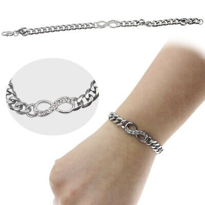 Silver Tone Stainless Steel Infinity Braided Chain Bangle Bracelet Women's Gifts