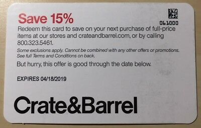 Crate and Barrel 15% off purchases of full-price items Online delivery only FAST