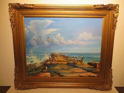 "24x30 org. oil painting by Swantner under Winburge of ""Pelicans on Galveston TX"""
