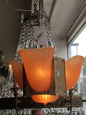 Original Art Deco Slip Shade Chandelier Glass Lamp 4 Light Pendant Very Unusual