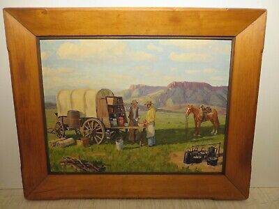 "18x24 original 1935 oil on board painting by FRED DARGE ""Chuck Wagon"" Western"