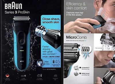 CLEARANCE NO BOX BRAUN SERIES 3 PROSKIN WET OR DRY Electric Shaver Blue 3010S