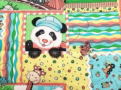 "NEW HANDMADE""CHOO CHOO BAZOOPLES"" COTTON 35X43in BOYS BABY/TODDLER QUILT BLANKET"