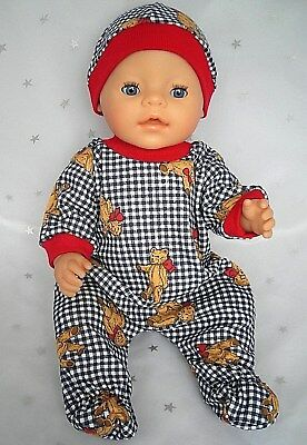 "Dolls clothes  for 17"" Baby Born  doll~NAVY CHECK TEDDY BEAR JUMPSUIT & HAT SET"