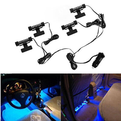 4 x 3 LED Car Interior Atmosphere Blue Light Charge Floor Decor Lamp Accessories