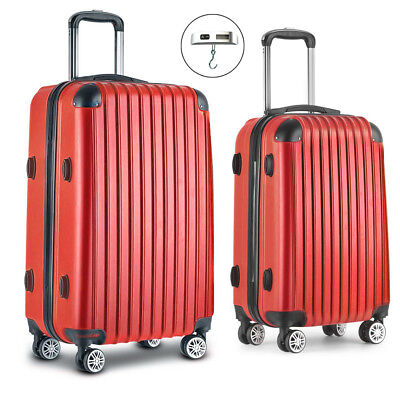 Wanderlite 2pc Luggage Suitcase Red Trolley Set TSA Travel Hard Case Lightweight