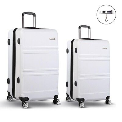 Wanderlite 2pc Luggage Suitcase White Trolley Set TSA Hard Case Lightweight