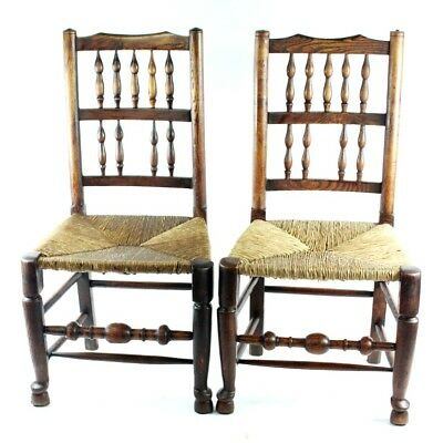 Pair of Antique Lancashire Oak & Rush Dining Chairs - FREE Shipping [PL4867]