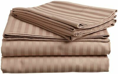 1000TC Egyptian Cotton Taupe Striped Bed Skirt Select Drop Length All US Sizes